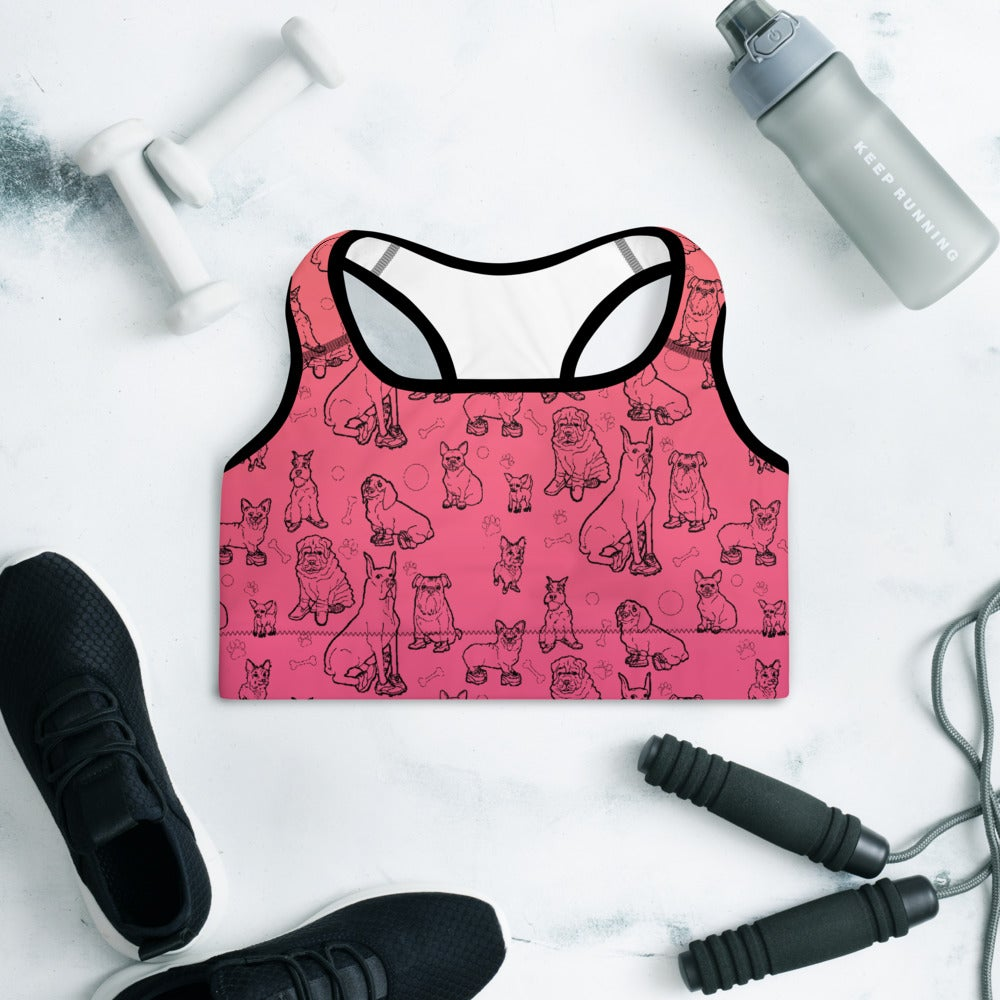 Image of DOGS IN SHOES All-Over Print Padded Sports Bra