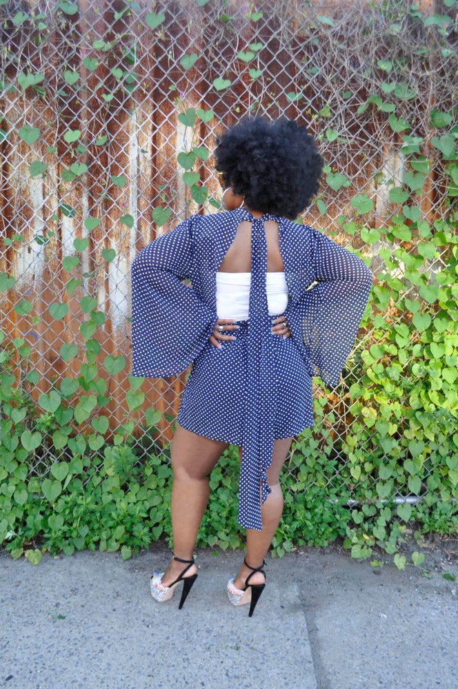 Image of Bell Sleeved Navy Fashion Romper