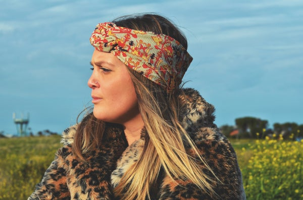 Image of Boho red headwrap