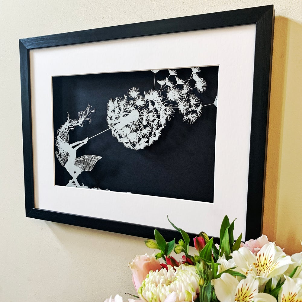 Image of Dancing With Dandelions - A Fantasy Wire Papercut Picture