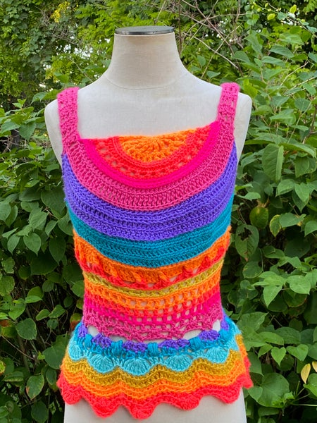 Image of  Citrus Berry Wavy Rainbow Crochet Top