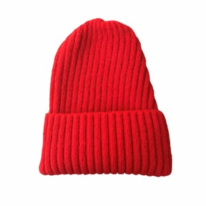 Image of Soft Fisherman's Beanie/ Watch Cap. Red.