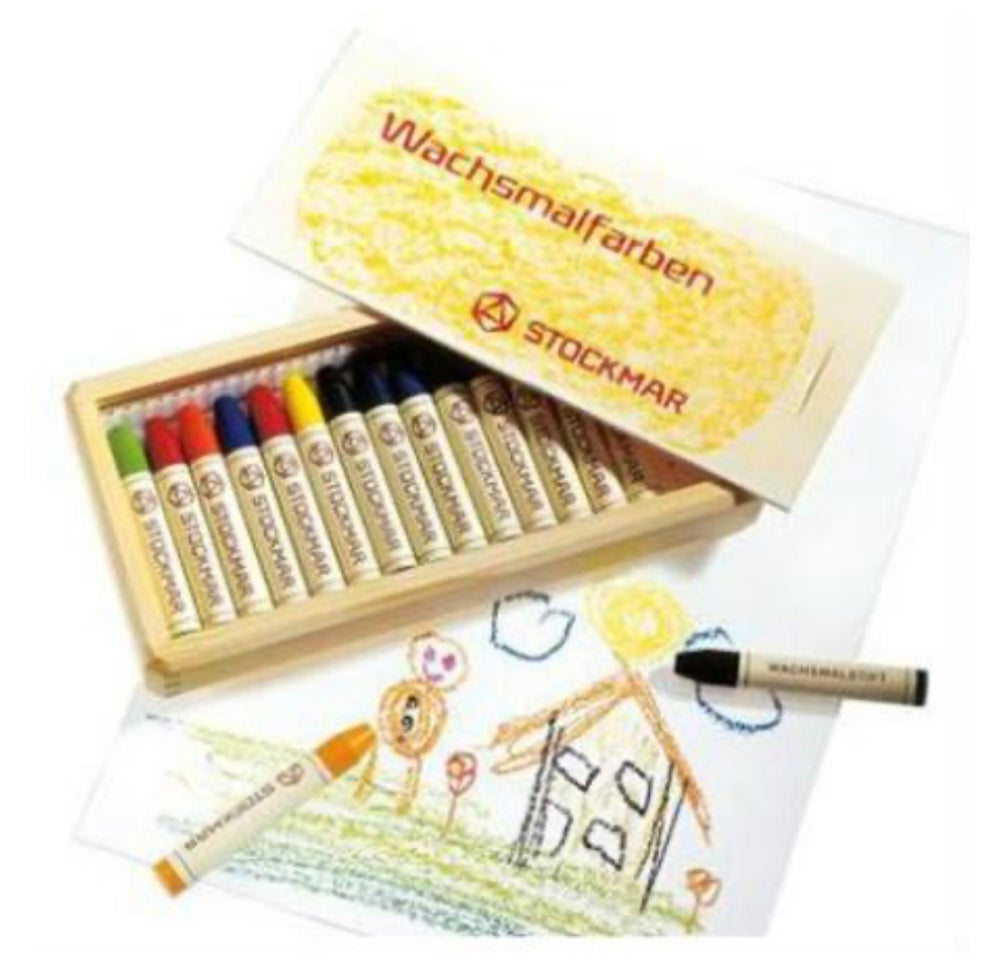 Image of Stockmar Wax Crayons w Pure Beeswax 16 Sticks in Wooden Box