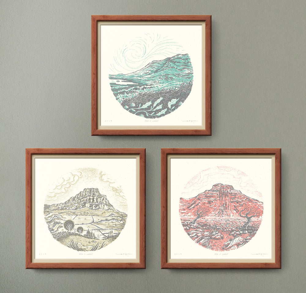 Image of Yorkshire Three Peaks SET of 3 - Silkscreen Landscape Prints