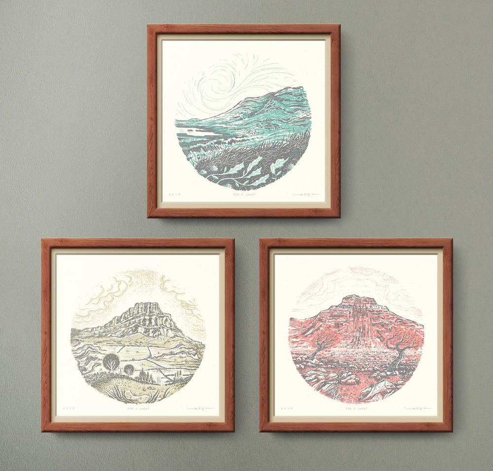 Image of Yorkshire Three Peaks SET of 3 - Silkscreen Landscape Prints