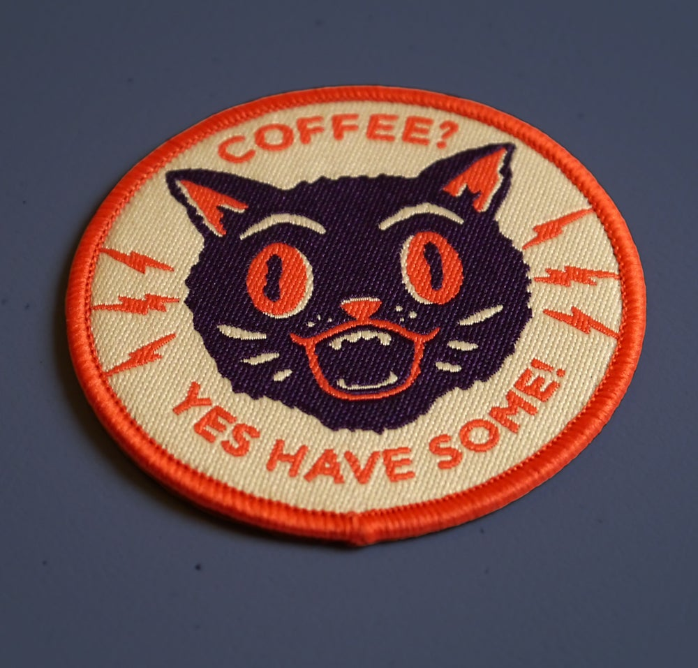 Image of Coffee Cat Woven Patch