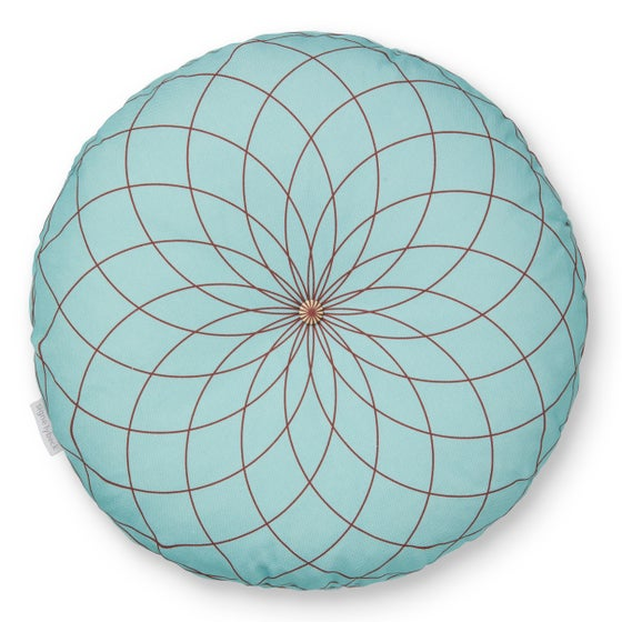 Image of 'Dahlia' round cushion turquoise