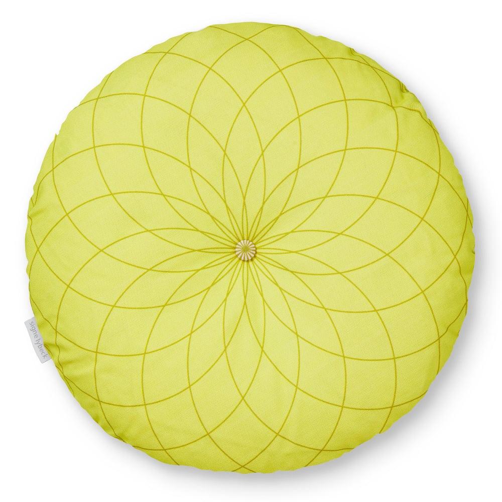 Image of 'Dahlia' round cushion light yellow