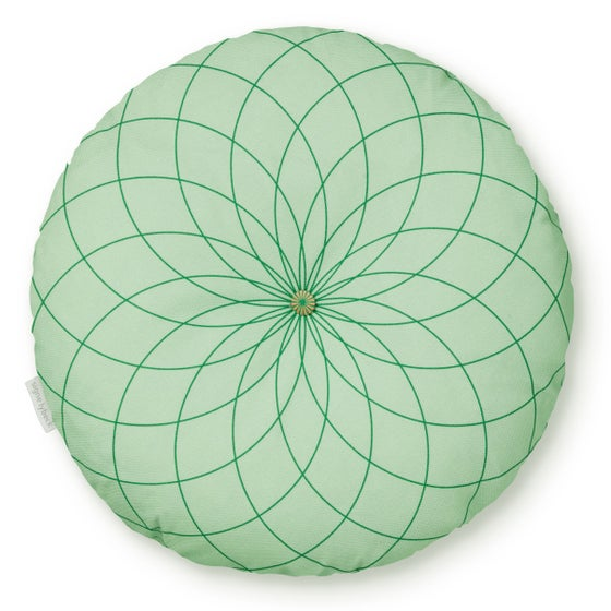 Image of 'Dahlia' round cushion green