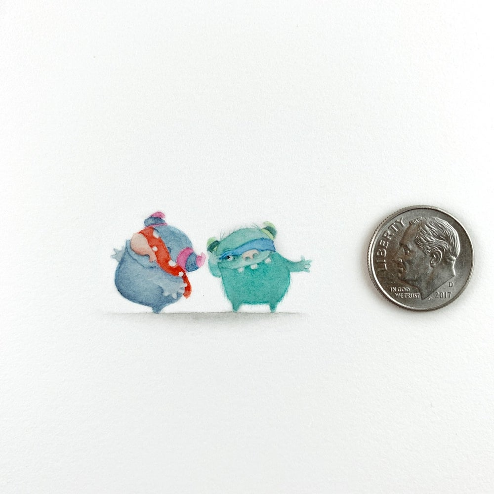 Image of Keeping an Eye Out: a tiny monster original watercolor