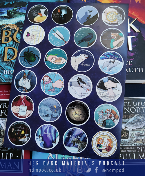 Image of Her Dark Materials Podcast episode art sticker pack