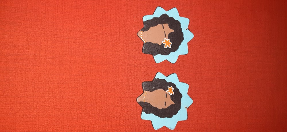 Image of Hand painted wood earrings