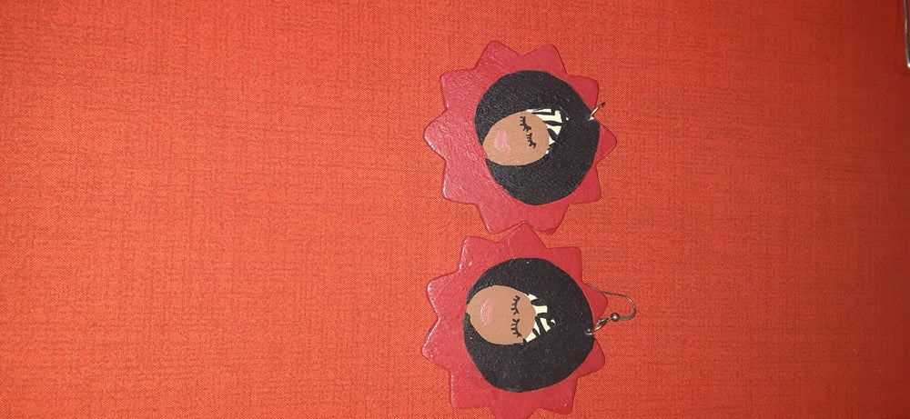 Image of Hand painted wood earrings woman