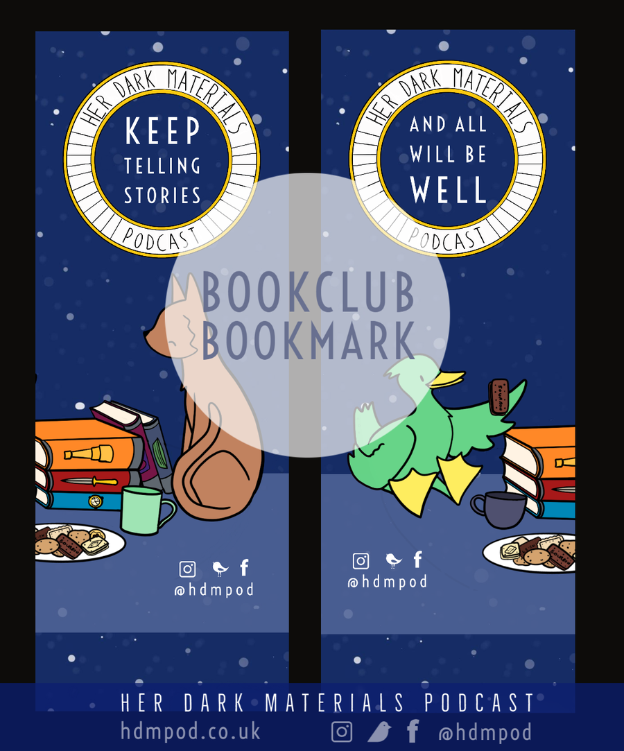 Image of Her Dark Materials Podcast Book Club bookmark