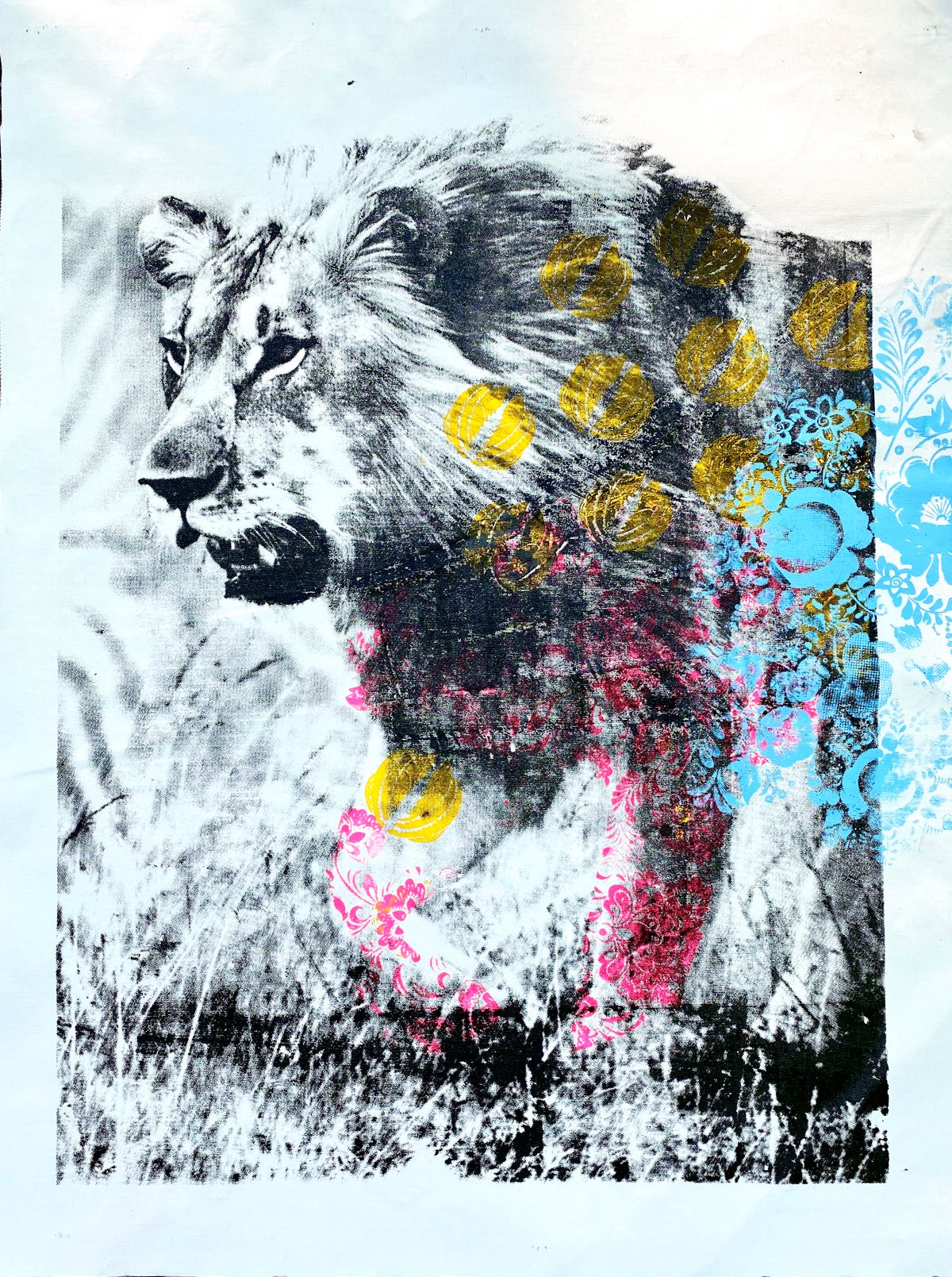 Image of Lion with flowers