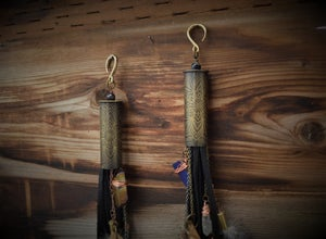 Image of Etched 12 Gauge Shotgun Shells with Leather Fringe and Dangles