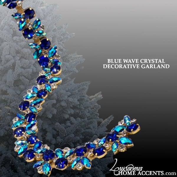 Image of Coastal Living Blue Wave Crystal Decorative Garland