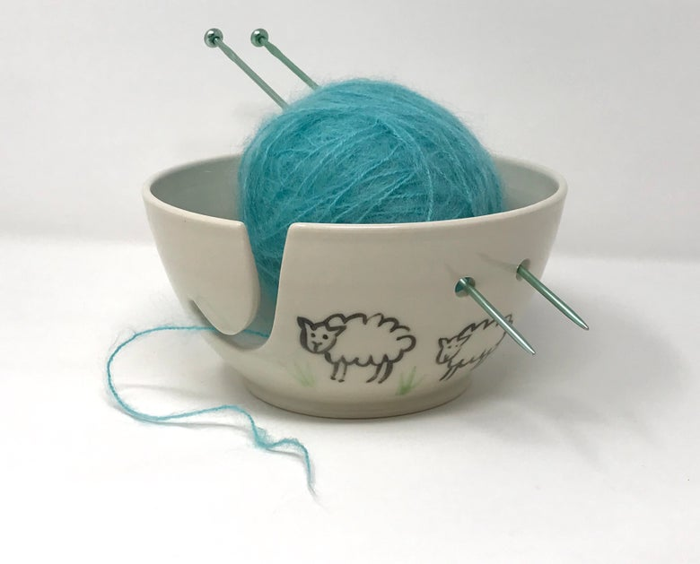 Image of Sheep decorated Yarn bowl, Medium