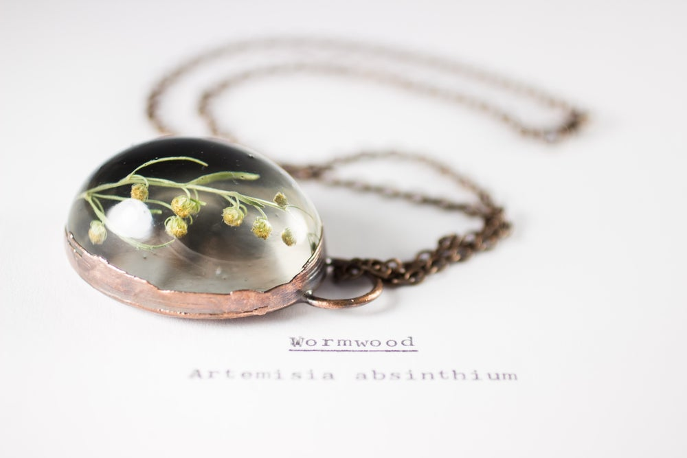 Image of Wormwood (Artemisia absinthium) - Copper Plated Necklace #1