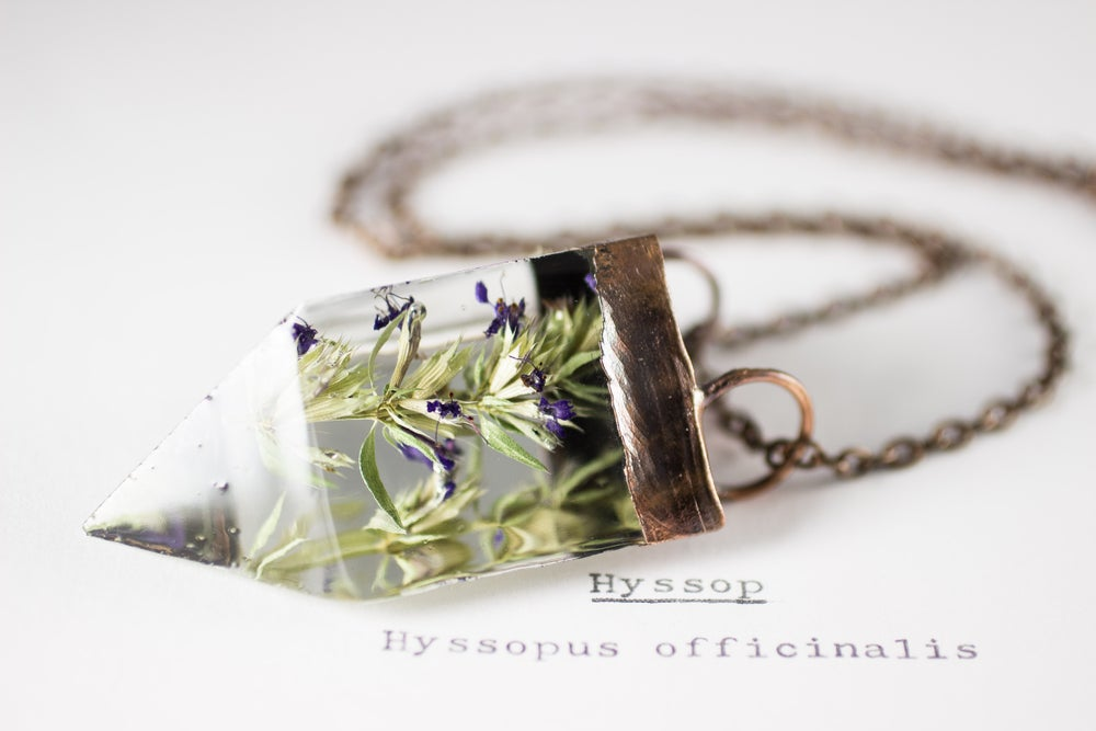 Image of Hyssop (Hyssopus officinalis) - Small Copper Prism Necklace #1