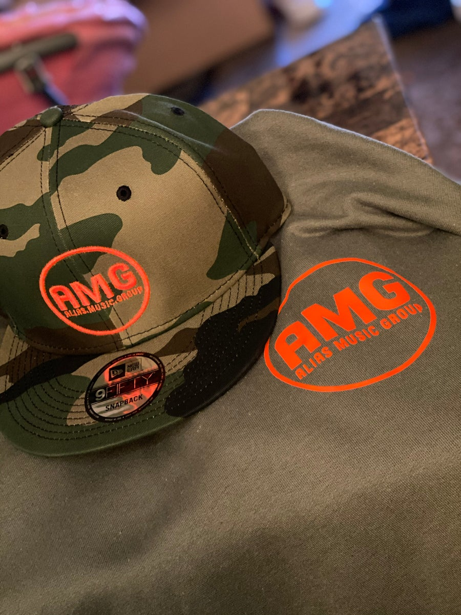 Image of Army fatigue hat and T-shirt