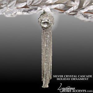 Image of Cascade Sparkling Silver Crystal Holiday Ornaments