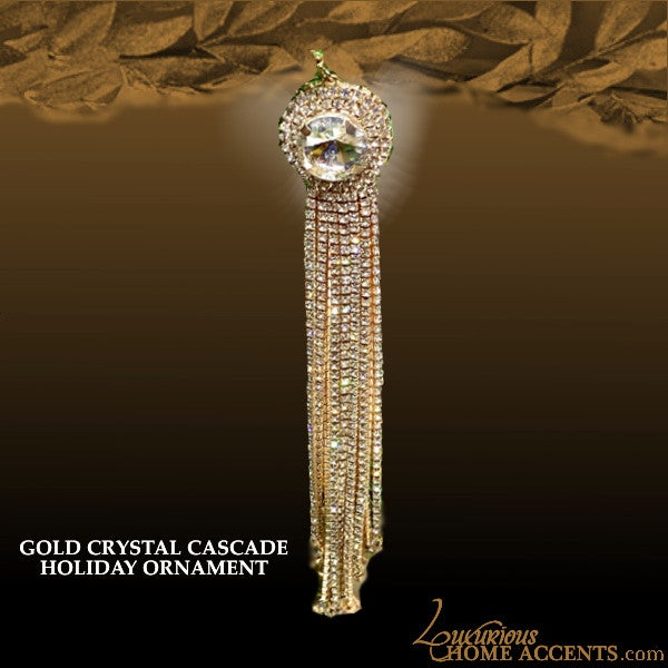 Image of Cascade Sparkling Gold Crystal Holiday Ornaments