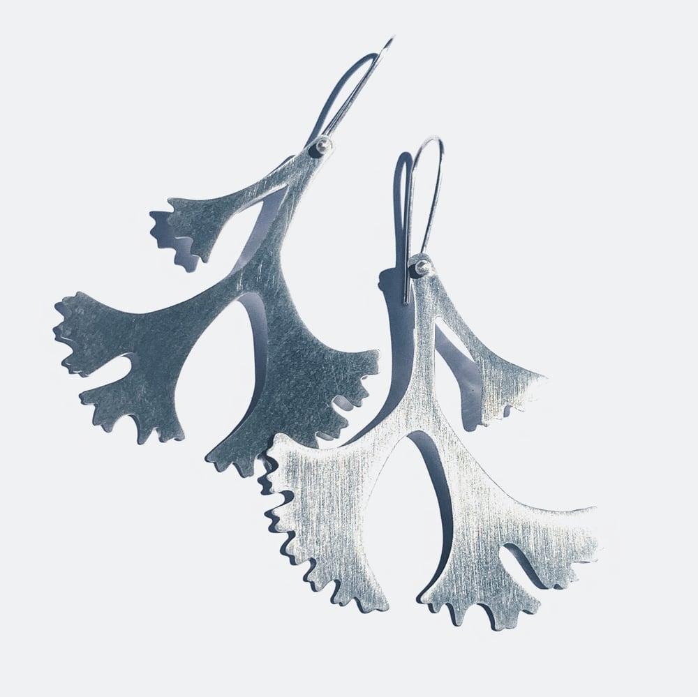 Image of Silver Seaweed Earrings