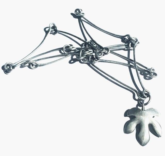 Image of Fig Leaf Silver Necklace