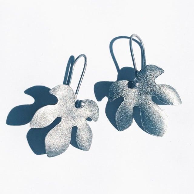 Image of Dark Fig Leaf Earrings