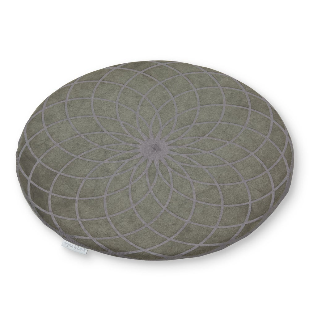 Image of 'Dahlia' round chair pad, red orange