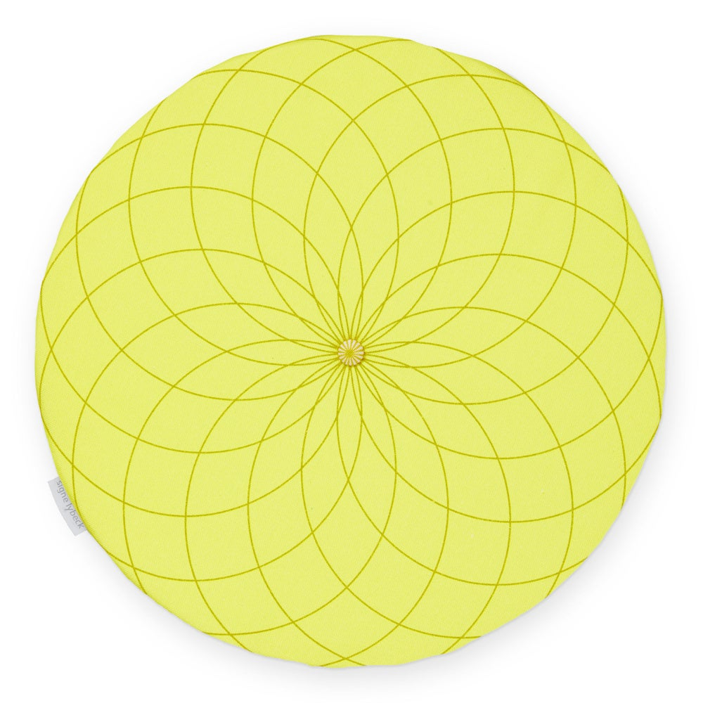 Image of 'Dahlia' round chair pad, yellow