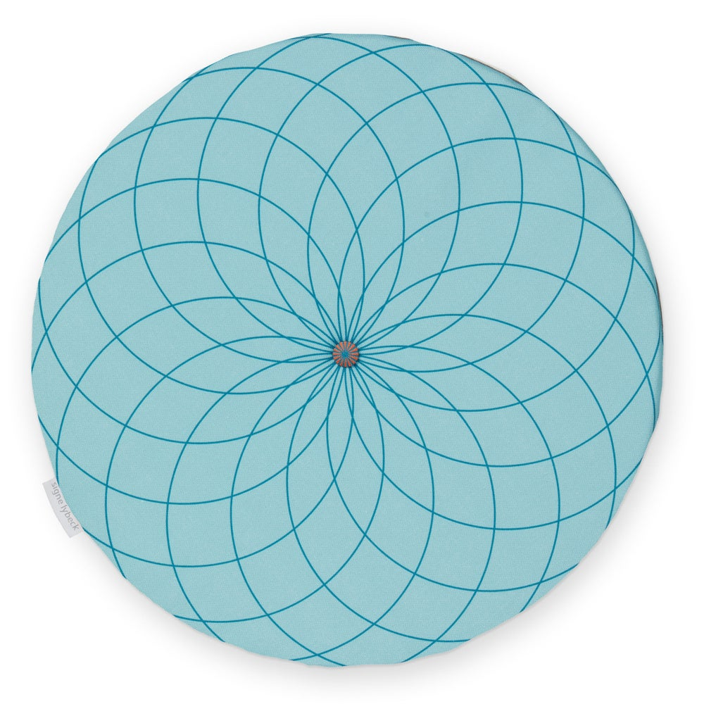 Image of 'Dahlia' round chair pad, blue