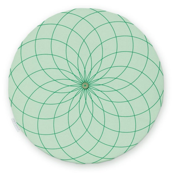 Image of 'Dahlia' round chair pad, green