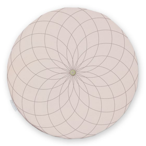 Image of 'Dahlia' round chair pad, dusty pink