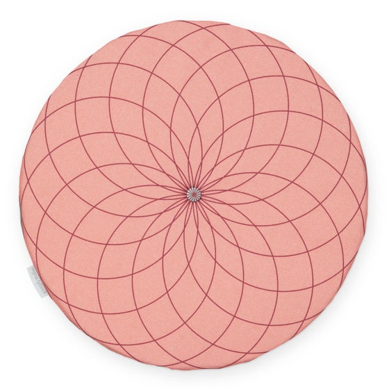 Image of 'Dahlia' round chair pad, coral red