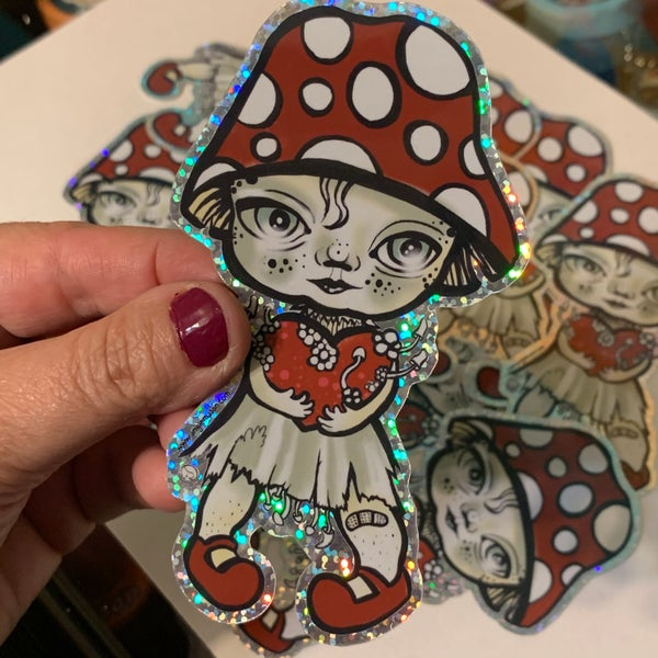 Image of Fungalina die cut glitter sticker