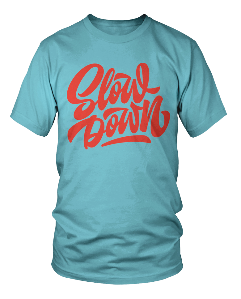 Slowdown Logo Tee in Light Turquoise and Red