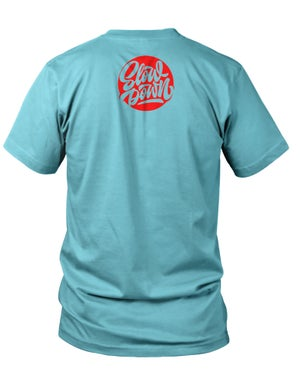 Image of Slowdown Logo Tee in Light Turquoise and Red