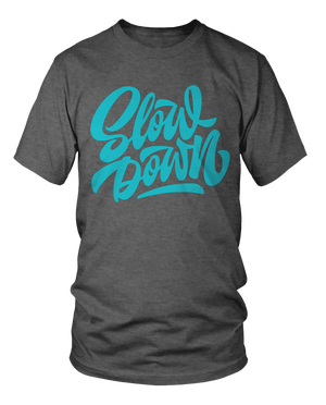 Image of Slowdown Logo Tee in Charcoal and Blue