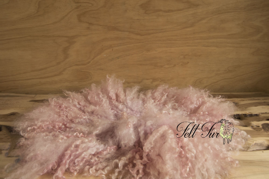 Image of Beautiful Pink Curly Fringe (E60), Newborn Photography Wool Prop. Size E. Ready to Ship