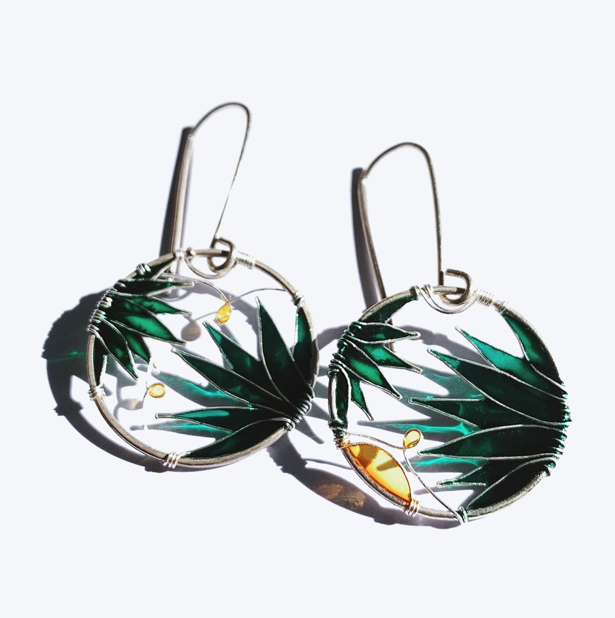 Image of Lush Green Silver Earrings