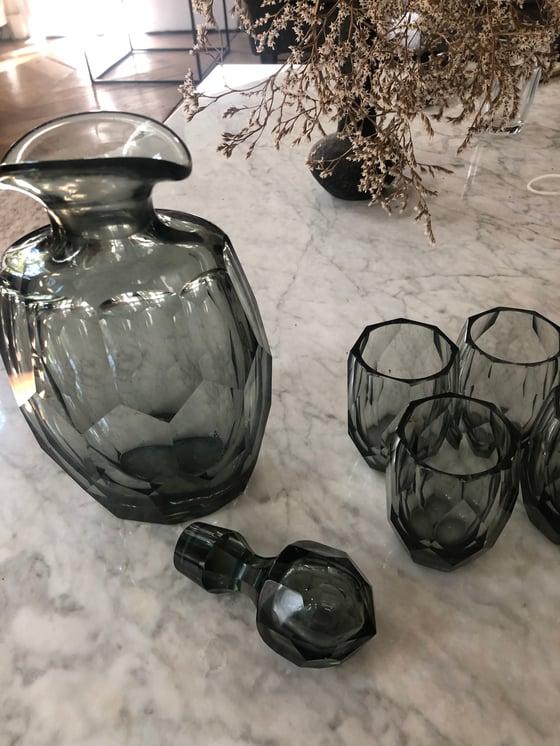 Image of Ensemble verres carafe gris fumé