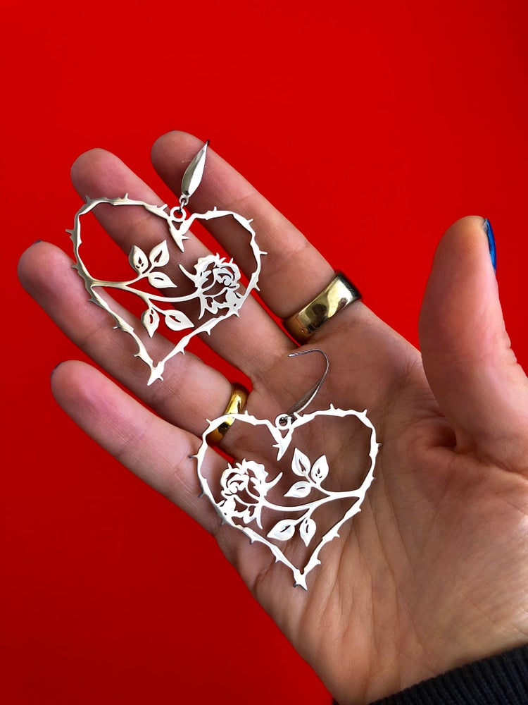 Image of HEART AND ROSE DROP EARRINGS
