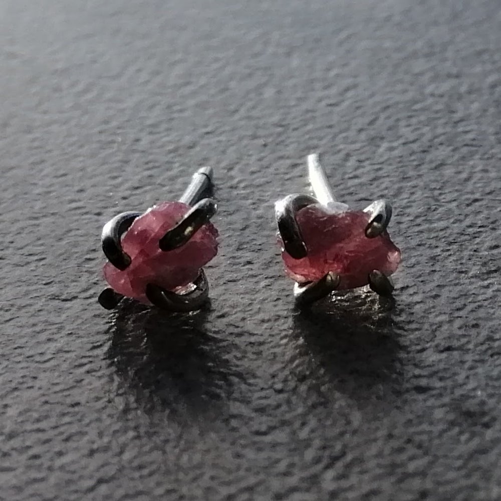 Image of Raw pink tourmaline gemmy studs