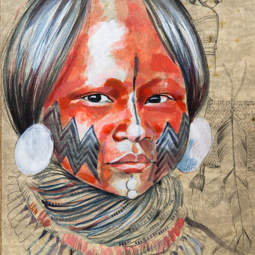 "Image of Original drawing - ""Enfant Kayapo"" - 52 x 67 cm"