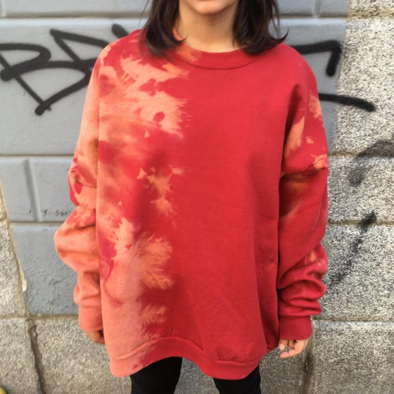 Image of UPCYCLING RED CREWNECK HOODIE