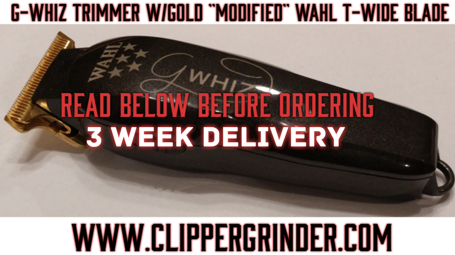 "Image of (3 Week Delivery/Pre-Order) Wahl G-WHIZ Trimmer W/Gold ""Modified"" Wahl T-Wide Blade"