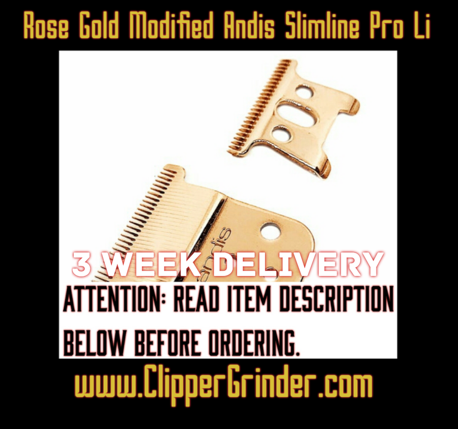 "Image of (3 Week Delivery/High Order Volume) Rose-Gold ""Modified"" Andis Slimline Li Trimmer Blade"