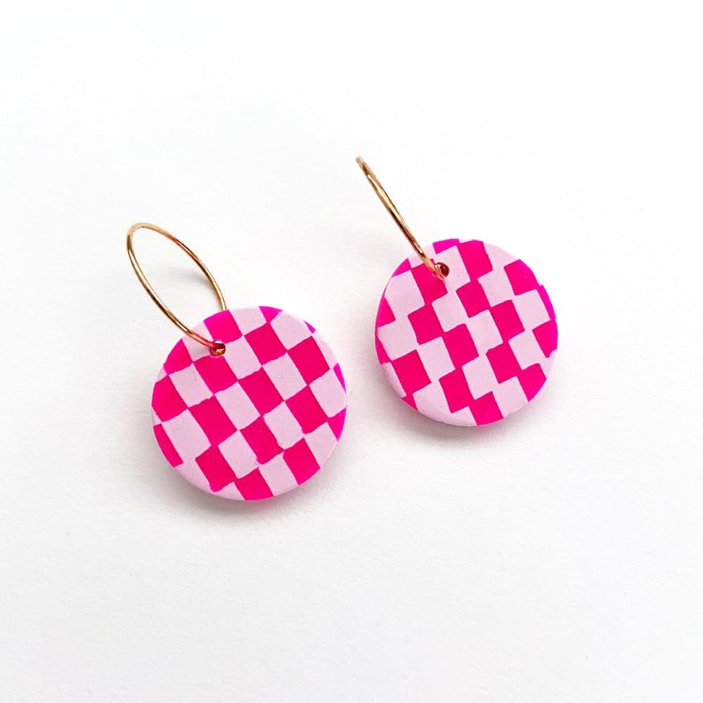Image of Hot Pink Checkered Hoop Earrings